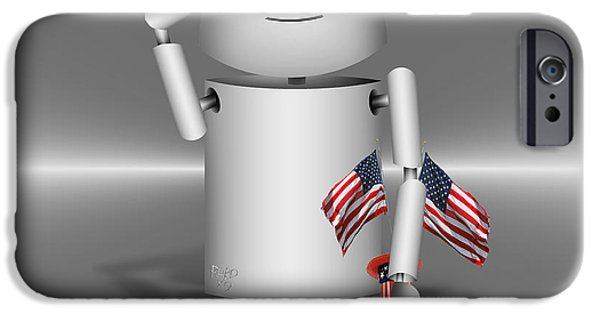 Old Glory iPhone Cases - Robo-x9 Remembers iPhone Case by Gravityx Designs
