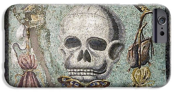 Mosaic iPhone Cases - Roman Memento Mori Mosaic iPhone Case by Sheila Terry