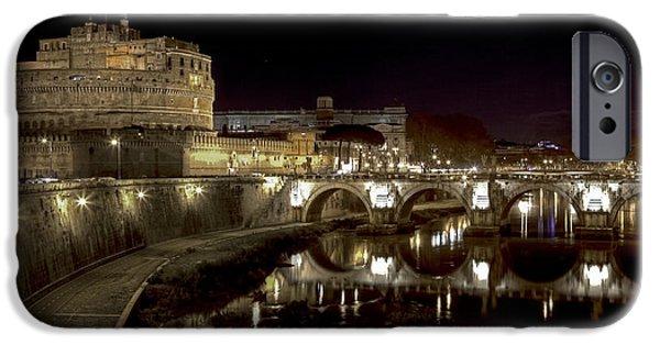 Night Angel iPhone Cases - Rome ponte san angelo iPhone Case by Joana Kruse