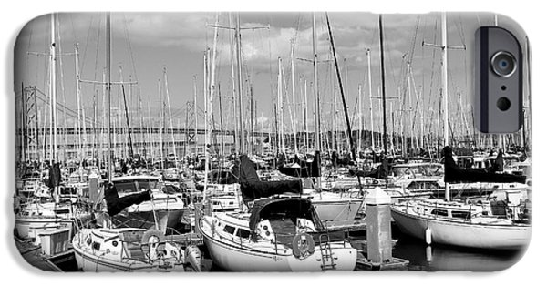 Sail Boat iPhone Cases - Sail Boats at San Francisco China Basin Pier 42 With The Bay Bridge in The Background . 7D7666 iPhone Case by Wingsdomain Art and Photography