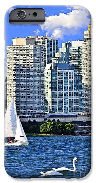 Swans... iPhone Cases - Sailing in Toronto harbor iPhone Case by Elena Elisseeva