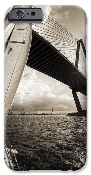 Sailing Photographs iPhone Cases - Sailing on the Charleston Harbor Beneteau Sailboat iPhone Case by Dustin K Ryan