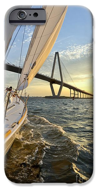 Sailing iPhone Cases - Sailing on the Charleston Harbor During Sunset iPhone Case by Dustin K Ryan