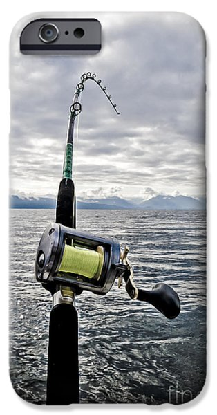 Salmon Fishing Rod iPhone Case by Darcy Michaelchuk