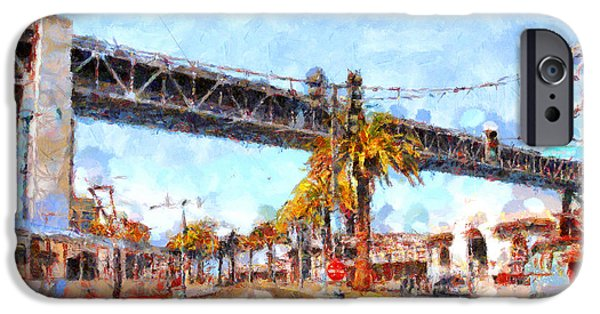 Baybridge iPhone Cases - San Francisco Bay Bridge at The Embarcadero . 7D7706 iPhone Case by Wingsdomain Art and Photography