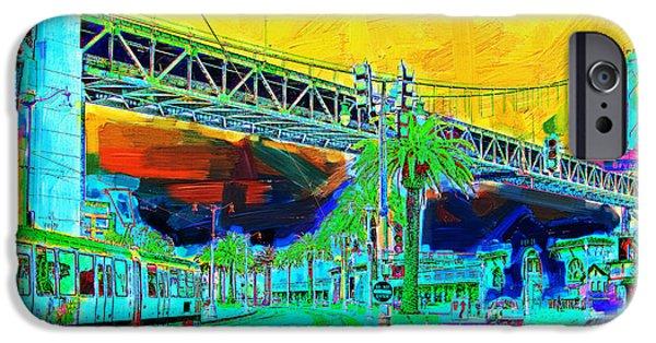 Oakland Bay Bridge iPhone Cases - San Francisco Embarcadero And The Bay Bridge iPhone Case by Wingsdomain Art and Photography