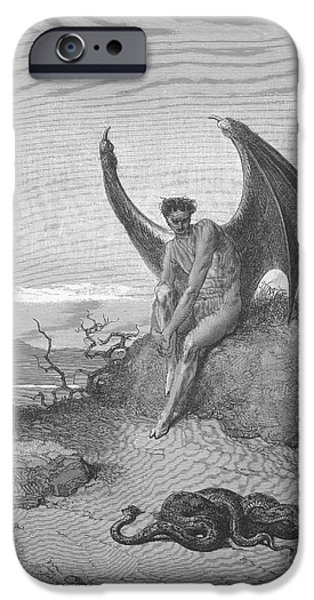 Serpent iPhone Cases - Satan Finding Serpent, By Dore iPhone Case by Photo Researchers