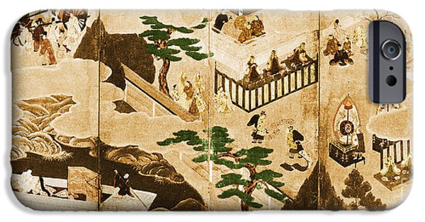 Japanese School iPhone Cases - Scenes From The Tale Of Genji iPhone Case by Photo Researchers