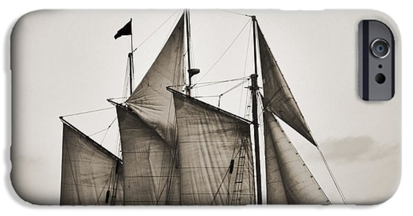 Black Top Digital Art iPhone Cases - Schooner Pride Tall Ship Charleston SC iPhone Case by Dustin K Ryan