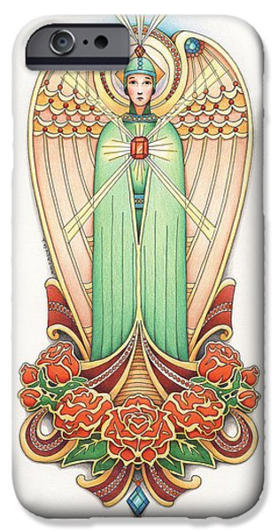 Jesus Drawings iPhone Cases - Scroll Angel - Roselind iPhone Case by Amy S Turner
