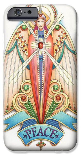 Jesus Drawings iPhone Cases - Scroll Angels - Pax iPhone Case by Amy S Turner