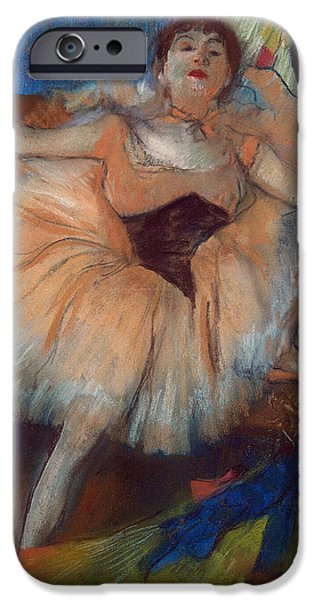 1879 iPhone Cases - Seated Dancer iPhone Case by Edgar Degas