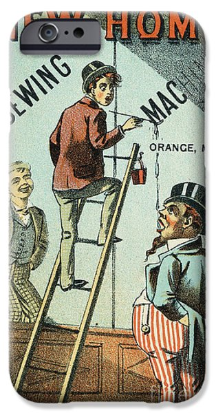 1880s iPhone Cases - Sewing Machine Trade Card iPhone Case by Granger