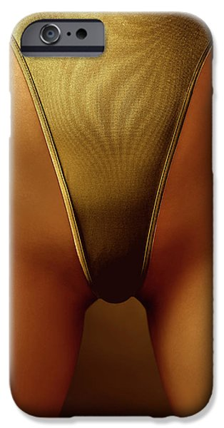 Sexy Covered with Gold Woman in High Cut Swimsuit iPhone Case by Oleksiy Maksymenko