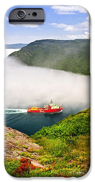 Ships iPhone Cases - Ship entering the Narrows of St Johns iPhone Case by Elena Elisseeva