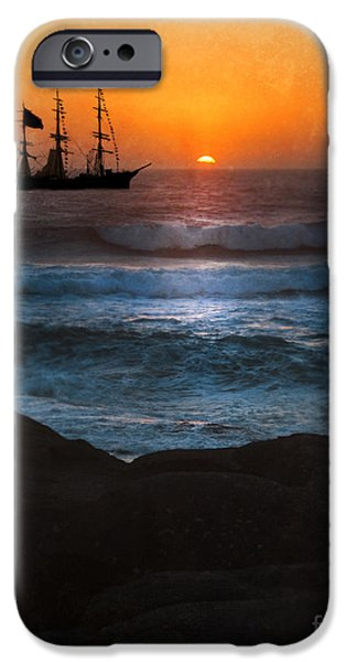 Pirate Ship iPhone Cases - Ship Off Rugged Coast iPhone Case by Jill Battaglia