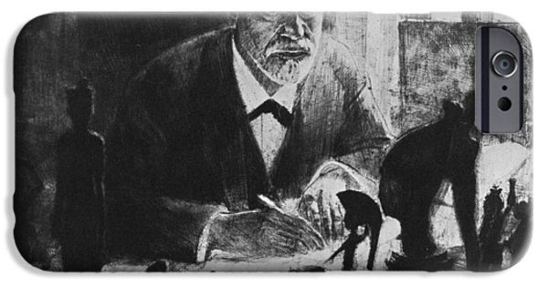 Statue Portrait iPhone Cases - Sigmund Freud, Austrian Psychologist iPhone Case by Humanities & Social Sciences Librarynew York Public Library
