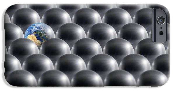 Terrestrial Sphere iPhone Cases - Single Earth, Conceptual Artwork iPhone Case by Detlev Van Ravenswaay