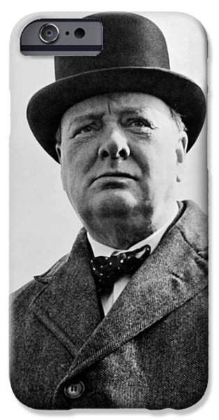 Patriotic Photographs iPhone Cases - Sir Winston Churchill iPhone Case by War Is Hell Store