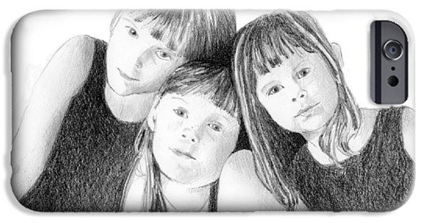 Sisters Drawings iPhone Cases - Sisters iPhone Case by Arline Wagner
