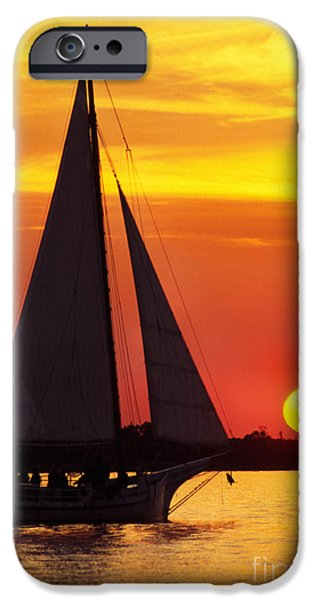 Full Sail iPhone Cases - Skipjack at Sunset iPhone Case by Thomas R Fletcher
