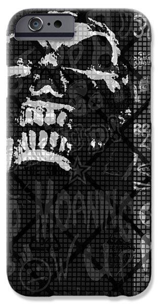 Skull Montage iPhone Case by Roseanne Jones