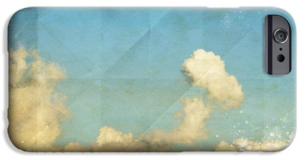 Torn iPhone Cases - Sky And Cloud On Old Grunge Paper iPhone Case by Setsiri Silapasuwanchai