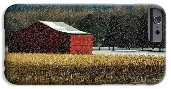 Red Barn In Winter iPhone Cases - Snowy Red Barn In Winter iPhone Case by Lois Bryan