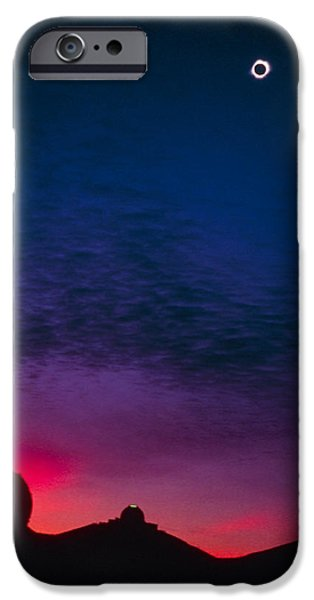 Solar Eclipse Over Mauna Kea Observatory iPhone Case by Magrath Photography