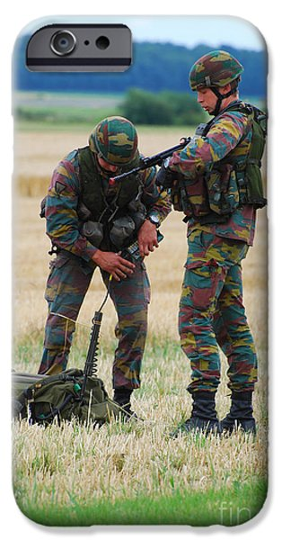 Soldiers Of The Belgian Army iPhone Case by Luc De Jaeger