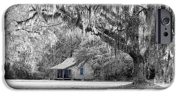 Cabin Window iPhone Cases - Southern Shade Selective Color iPhone Case by Al Powell Photography USA