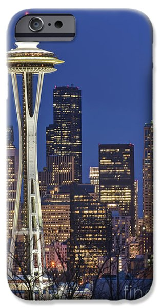 Space Needle and Downtown Seattle Skyline iPhone Case by ROB TILLEY