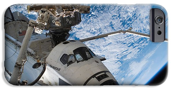 Destiny iPhone Cases - Space Shuttle Endeavour, Docked iPhone Case by Stocktrek Images