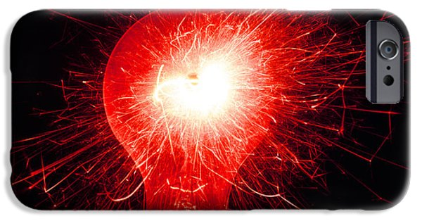 Sparking iPhone Cases - Sparking Light Bulb iPhone Case by Victor De Schwanberg