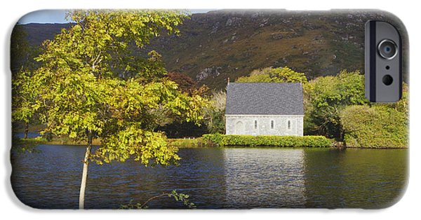 Gougane Barra Church iPhone Cases - St. Finbarres Oratory On Shore iPhone Case by Ken Welsh