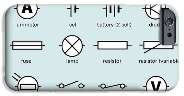 Electrical Equipment iPhone Cases - Standard Electrical Circuit Symbols iPhone Case by Sheila Terry