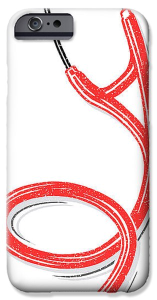 Stethoscope, Lino Print iPhone Case by Gary Hincks