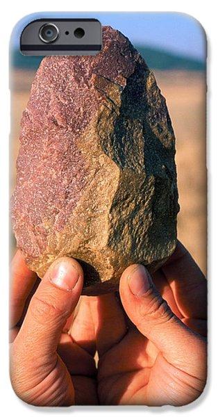 Evolution Of Humanity iPhone Cases - Stone Tool, Sima De Los Huesos iPhone Case by Javier Truebamsf