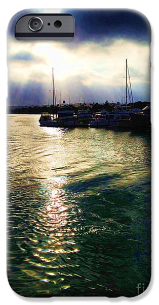 Sailboats Docked iPhone Cases - Stormy Skies iPhone Case by Cheryl Young