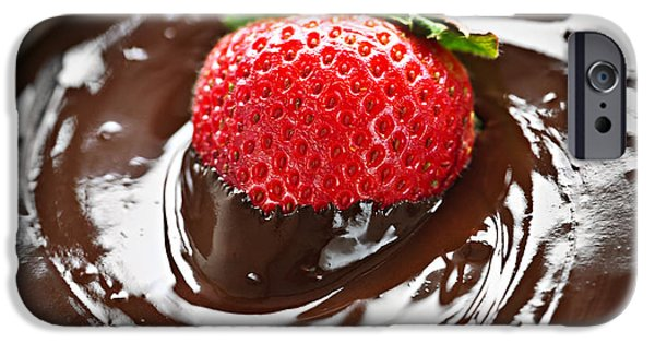 Strawberries iPhone Cases - Strawberry dipped in chocolate iPhone Case by Elena Elisseeva