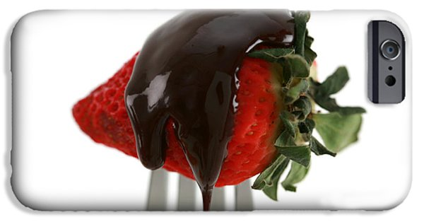 Covering Up iPhone Cases - Strawberry With Chocolate Sauce On A Fork iPhone Case by Michael Ledray