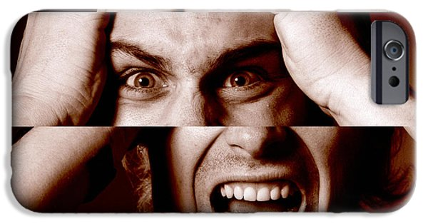 Multiple Personalities iPhone Cases - Stressed Man iPhone Case by Victor De Schwanberg