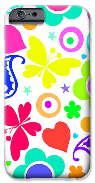 Abstract Digital Paintings iPhone Cases - Summer Fun iPhone Case by Louisa Knight