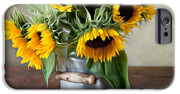 Shiny iPhone Cases - Sunflowers iPhone Case by Nailia Schwarz