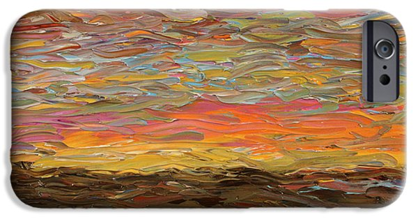 Sunset Paintings iPhone Cases - Sunset iPhone Case by James W Johnson