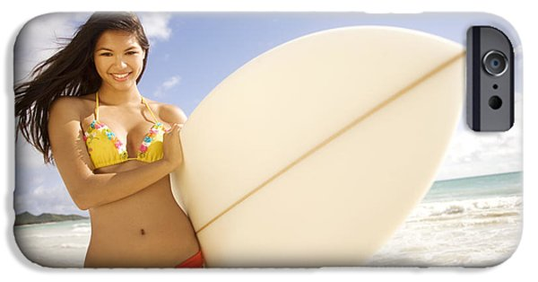 Youthful iPhone Cases - Surfer girl iPhone Case by Sri Maiava Rusden - Printscapes