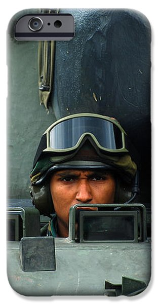 Tank Driver Of A Leopard 1a5 Mbt iPhone Case by Luc De Jaeger