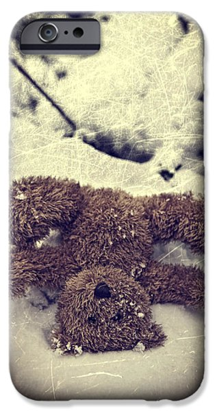 Hiding Photographs iPhone Cases - Teddy In Snow iPhone Case by Joana Kruse