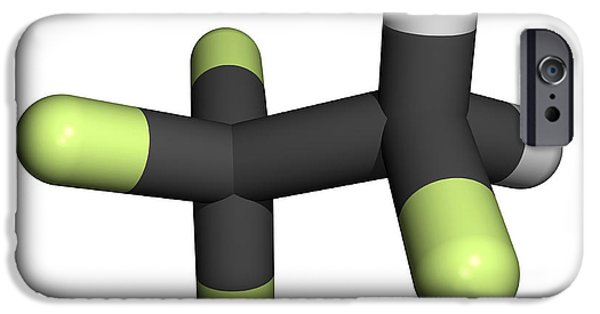 Pollutant iPhone Cases - Tetrafluoroethane Molecule iPhone Case by Friedrich Saurer