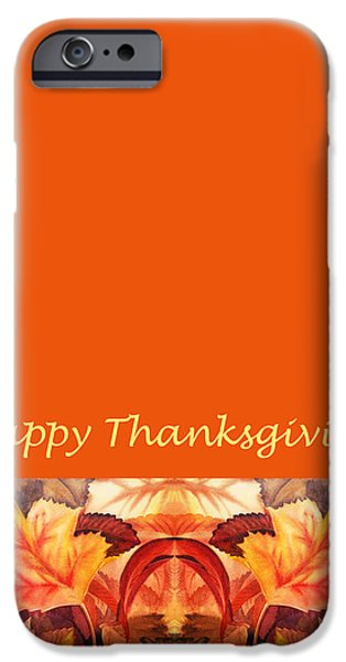 Cold Weather iPhone Cases - Thanksgiving Card iPhone Case by Irina Sztukowski